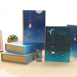 Wholesale Lock Box Books - Wholesale- Listen Starry Sky Diary With Lock Retro Note Book Boxed Notebook With Weekly Plan Grid Paper School Kid Girls Gift Stationery