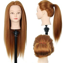 "Wholesale Training Doll Head - Wholesale-New 24"" Hairdressing Practice Training Head Yaki Synthetic Hair Doll Cosmetology Mannequin Heads Women Hairdresser Manikin"