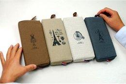 Wholesale Paris Pencil Bag - Vintage Pouch Linen Canvas 4 Colors Paris 18*8cm Functional case organizer pencil case cosmetic case portable bag Zip