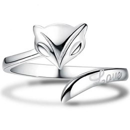 fashion finger rings for girls Coupons - Silver Band Ring Hot Sale Fox Finger Rings For Women Girl Wedding Party Open Size Fashion Jewelry Wholesale Free Shipping 0105WH
