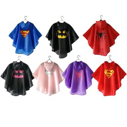 Wholesale Super Hero Clothes - Kids Rain Coat Print Super Hero Spdierman Style Cool Rain Clothes Cosplay Costume Superhero Rain Gear Full Body Outdoor Wear With Button