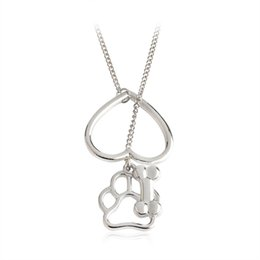 Wholesale Handmade Bone Pendant - Hollow Heart Dog Paw Bone Pendant Necklace Silver Love Animal Necklaces For Women Mom Dog owners Handmade Friendship Jewelry