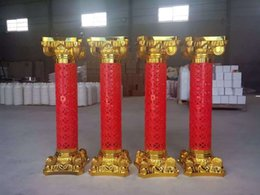 Wholesale House Shops - Red Gold Plastic Roman Columns Road Cited Ceremony Wedding Favors Party Decorations Hotels Shopping Malls Opened Welcome Festival Road Lead