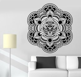 Wholesale zen home decor - Wall Stickers Buddha Mandala Om Mantra Zen Lotus Meditation Vinyl Decal removable creative removable home decor mural