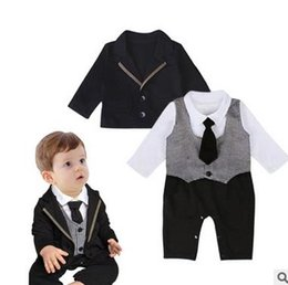 Wholesale Cheap Infant Rompers - wholesale cheap China2016new fashion infant toddler baby boys rompers pure cotton gentleman boys clothes 70-80-90 3sets lot