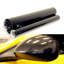 Wholesale Wholesale Vinyl Films - 50x200cm DIY Car Sticker 5D Carbon High Glossy Film Vinyl Wrapping Auto Carbon Fiber Vinyl Film Fibra de Carbono Black