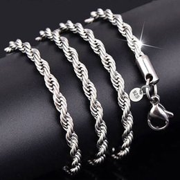 Wholesale Sterling Silver Rope Chain 3mm - 3MM 925 Sterling Silver Necklace Chain Twist Rope Necklace Collar 16-30inches Women Link Chain Free Shipping