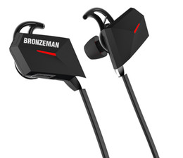 Wholesale Head Stereo Bluetooth - Sports Bluetooth Head phones Ear Buds BRONZEMAN BZM7 High End Wireless Stereo Noise Cancelling Headphones with Volume Control+ Microphone