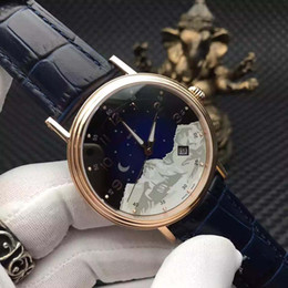 Wholesale Gold Top Blue - Top Quality Newest Top Brand PP Rose Gold Caes Dark blue Dial Watch Men Imported 9015 Automatic Movement Watches Super Watches Men's Watches