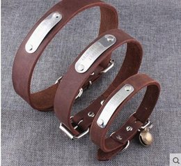 Wholesale Genuine Leather Dog Collars - Retails!specialized genuine leather dog collar with bells engraved lettering freely name&phone for dogs chain prevent lost,small dog teddy