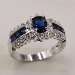 Wholesale 14kt Gold Sapphire Rings - Size 9-11 Charming Oval Blue Sapphire Rings 14KT White Gold Filled Summer Jewelry Party Wedding Rings For Men And Women