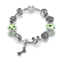 Canada Mode Pandora Style bracelets de charme avec vert clair perles de verre de Murano Dog Bowl Charms os Dangles European Bangle Bracelets BL133 Offre