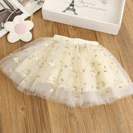 Wholesale Embroidered Cotton Baby Gown - INS Girls Tutu Skirts embroider Flower Children Tutu Skirts Toddler Tiered Dress Ballet Tutu Maxi Skirts Ball Gown Baby Clothing