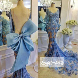 Wholesale Big White Train Dresses - Amazing Blue Lace Mermaid Prom Dresses 2017 Long Sleeve Sexy Backless With Big Bow Evening Gowns Sweep Train Arabic Formal Party Dresses