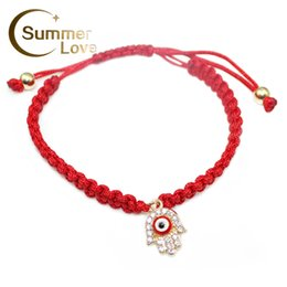 Wholesale Protect Bracelet - Wholesale-Handmade Braided Rope Bracelets Red Thread Turkish Jewelry Hamsa Hand Charm Bracelets Bring You Lucky Protect Peaceful Bracelets