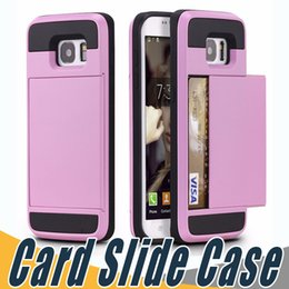 Wholesale Hybrid Case For Iphone 5c - Top Quality Dual Layer Card Slide Case Hybrid Armor Shockproof Cases Cover For iPhone 5 5S SE 5C 6 6S 7 8 Plus Samsung S8 S7 Plus S5 Note8