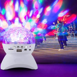 Wholesale Disco Ball Mobile Phone - Disco DJ Party Bluetooth Speaker Built-In Light Show Stage Effect Lighting RGB Color Changing LED Crystal Ball Support TF AUX FM