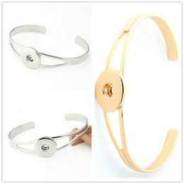 Wholesale Wholesale Copper Brass Bangles - NOOSA Hot Sale Snap Bracelet&Bangles Charms Bangles Alloy Bracelet 18mm Snap Button Jewelry DIY Jewelry Gold Silver Can be mixed SZ02