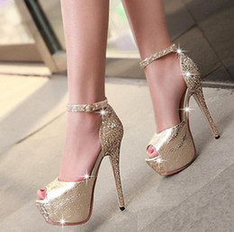 Wholesale Silver Glittered Wedding Shoes - Glitter sequined ankle strap high platform peep toe pumps party prom gown wedding shoes women sexy high heels size 34 to 39