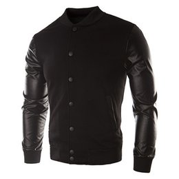 Wholesale Leather Men Sweaters Black - Fall-BISM Sweater PU Leather Collar Sweater Personalized Baseball Stitching Clothes Man Black 3XL