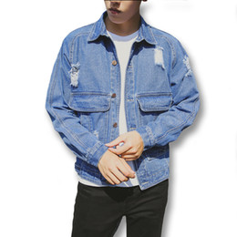 Wholesale Hole Cardigans - Wholesale- 2016 New Men Denim Jeans Ripped Hole Jackets Coats Cardigans Men's Casual Fashion Slim Fit Long Sleeved Denim Jackets Outwear