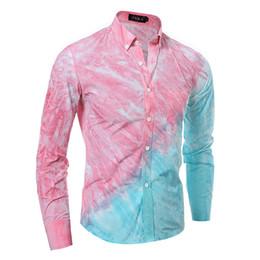 Wholesale Men S Pink Dress Tie - Wholesale- New Pink Shirt Men 2016 Fashion Tie-dye Long Sleeve Shirts Casual Brand Slim Fit Mens Dress Shirts Chemise Homme Camisa Social
