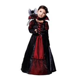 Wholesale Evil Cosplay Costume - 2016 New Girls Evil Queen Dress sets Holloween Cosplay costume two-piece sets necklace+dress Vampiress clothing for girls new years Xmas
