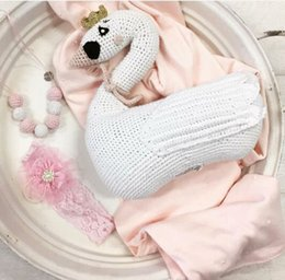 Wholesale Round Baby Beds - New design Cute Knitted Swan Pillow Handmade Baby Room Decor Child Car Seat Soft Cotton Newborn Bedding In Stock wholesale