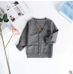 Wholesale Machine Embroidery Clothes - INS Children cardigan Baby boys cotton cartoon lion embroidery knitting sweater Kids V-neck single-breasted outwears Baby clothes C1956