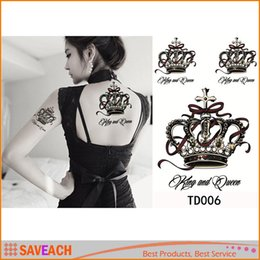 Wholesale Henna Temporary Tattoos Stickers - 3D Waterproof Temporary Tattoos The Luxury Crown Temporary Tattoo Sticker Beauty Makeup Sexy Henna Tattoo Paste Cool Stuff