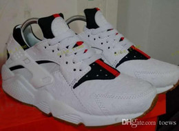 Wholesale Designers Art - 2017 Air Huarache Leather Running Shoes White Green Red Huaraches Men&Women Sneakers Famous Brand Custom Designer Sports Shoes Free Shipping