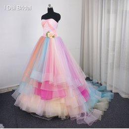 Wholesale Strapless Lace Flower Gown - Candy Color Wedding Dress Strapless Ball Gown Colorful Tiered Beaded Real Photo High Quality Bridal Gown
