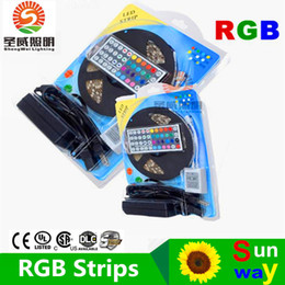 Wholesale Flexible Free - 5050 RGB LED Strips Light SMD 300 LED 60LED M Flexible LED light ribbon Waterproof IP65 with 44keys Controller 12V5A power Free Shipping