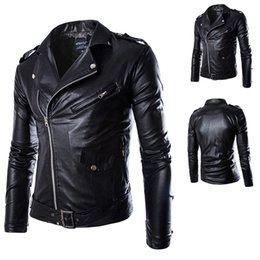 Wholesale Men Leather Coats Jackets - Fall-Pu Leather Jaqueta Masculinas Inverno Imitation Couro Solid Color Mens Leather Jackets and Coats Men Jaquetas De Jacket Men