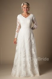 Wholesale Castle Long Sleeves - Ivory A-line Vintage Lace Appliques Modest Wedding Dresses 2016 With Long Sleeves V Neck Buttons Sleeves Long Bridal Gowns Custom Made