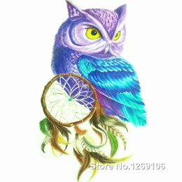 Wholesale Dreamcatcher Design - Wholesale- 2016 New Design Colorful Owl and Dreamcatcher 19x12cm Waterproof Temporary Tattoo Stickers
