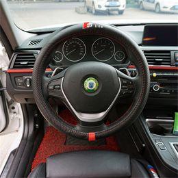 Wholesale Audi Q7 Interior - 38CM Car Styling Steering Wheel Cover Interior Decor Carbon Fiber Sport Cover For AUDI A1 A3 A4 A5 A6 A7 A8 RS R8 TT Q3 Q5 Q7