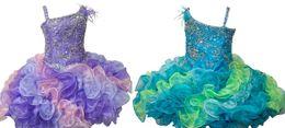 Robes faites à la main en Ligne-Petite Fille Paillettes Cupcake Jupe Avec Fleur Faite À La Main Une Épaule Cadeaux D'anniversaire D'anniversaire De Mariage Fête Toddler Robe Courte