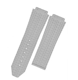 Wholesale Watch Band 18mm White - White For Hub 26 x19mm   22 x 18mm   24x16mm Litchi grain Diving Silicone Rubber Watch Band Strap Without Buckle+Tools