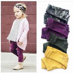 Wholesale Girls Purple Green Leggings - Ins Hot sale camouflage Hole Fashion Girls Trouser kids Funky Leggings Childrens Skinny Pants Baby Tights Girls Clothes Long Trousers A1120