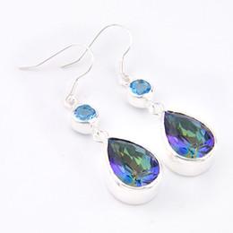Wholesale Blue Topaz Sterling Jewelry - Party Jewelry Gift--5pairs   Lot Lucky Shine Swiss Blue Topaz Crystal Gemstone 925 Sterling Silver Stud Earrings Russia Wedding Earrings