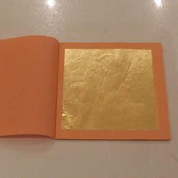 Wholesale Wholesale 24k Gold China -  4 booklet 100pieces 25 leaves   per booklet foil, 24K Pure Edible Gold Leaf 99.99% Gold Good Quality, 8 X 8cm free shipping
