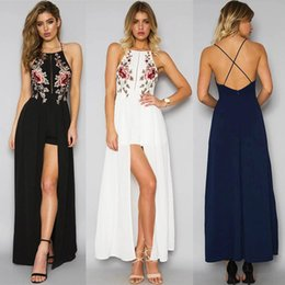 Wholesale romper maxi - MAYFULL new sexy long strap dress lady casual leisure romper backless split embroidery dress brand lady night club evening party maxi dress