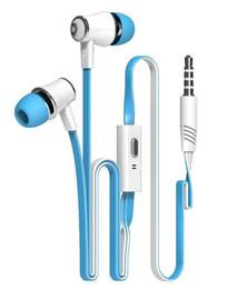 Wholesale Microphone Cable Headphone Jack - Langston JM21 Super Bass In-ear Earphone 3.5mm Jack Stereo Headphone 1.2m Flat Cable with Microphone for iPhone 6 6 Plus 5 5S Epacket