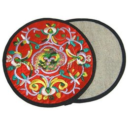 Wholesale C Unique - Unique Round Embroidered Cotton Cloth 2 Coaster Set Chinese style Coffee Table Cup Mat Decorative Protective Pad 10 sets lot