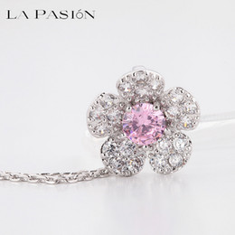 Wholesale Pink Centres - LA PASION BRAND Cute Small Necklaces & Pendants Pink Centre CZ Stone Sakura Flower Paved Tiny Cubic Zircon Fashion Jewelry For Women