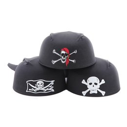 Wholesale Church Goods - Halloween Ballroom Party Supplies Round Pirate Hat Pirate Captain Hat 55g Skull hats good quality free shipping