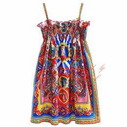 Wholesale Retro Baby Dresses - Pettigirl New Retro Suspender Girls Vintage Dresses European And American Flowers Print Square Collar Baby Kids Summer Clothes GD90124-538F