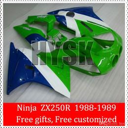 Wholesale Kawasaki Ninja Blue Paint - For Kawasaki Ninja 1988 1989 ZX 250R ZX250R 88 89 Glossy Green Blue White OEM ABS Plastic Fairing Kits Racing Bike Parts Free Custom Paint