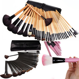 2019 32pcs rosa schwarze make-up pinsel set Make-up Pinsel 32 Teile / satz rosa schwarz holz Make-Up Kosmetik Pinsel Kit lidschatten Toiletry schönheit geräte make-up pinsel rabatt 32pcs rosa schwarze make-up pinsel set
